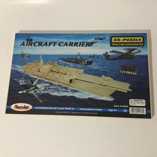 Puzzled Aircraft Carrier 3D Puzzle Wood Craft Construction Kit $6.43