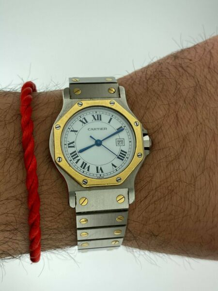 Cartier Santos Octagon 30mm Date Steel amp; Solid 18k Yellow Gold Automatic Large $3200.00