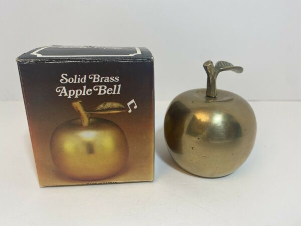 Vntg 4quot; Tall Solid Brass Handcrafted Apple Bell Made in Vietna w Original Box
