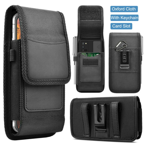 Vertical Cell Phone Belt Clip Holster Pouch Buckle Wallet Card Holder Case Cover $8.95