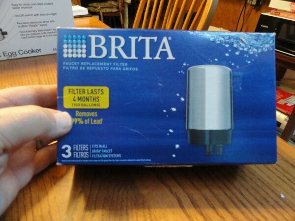 BRITA 3 PACK CHROME FAUCET REPLACEMENT FILTER NEW OPEN BOX Fast Ship
