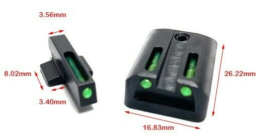 1911 NOVAK SIGHTS LOW LIGHT GREEN OR RED FIBER OPTIC MADE IN USA $29.69