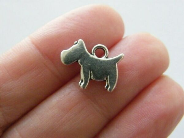 10 Dog charms antique silver tone A1073 $3.75