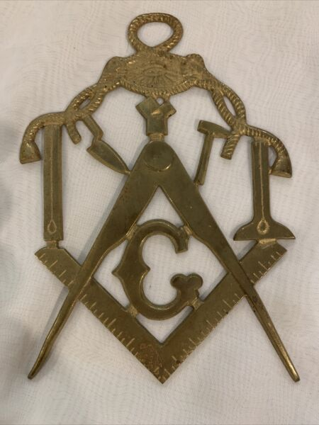 """Brass Masonic Square And Compass Emblem 7"""" X 4"""" Nicely Detailed $45.00"""