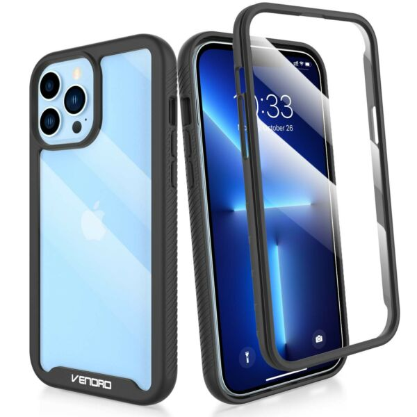 For iPhone 12 13 Pro Max12 Mini Clear Case Cover With Built in Screen Protector