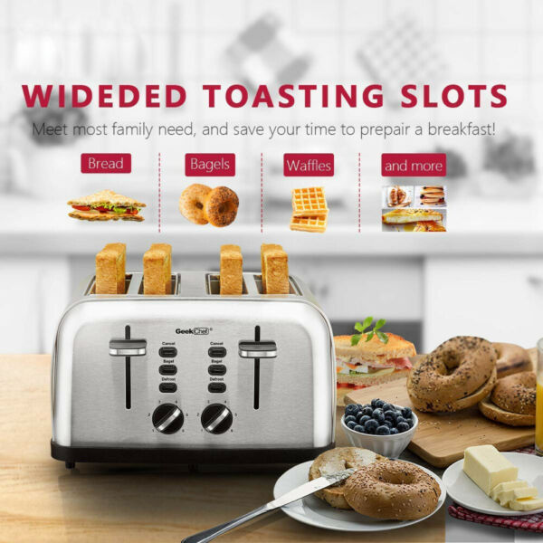 4 Slice Toaster Stainless Steel Extra Wide Slot Toaster Auto Pop Up