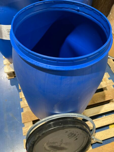 220L 55gal plastic drum removable lid with metal clasp UN cert. LOCAL PICKUP $30.00
