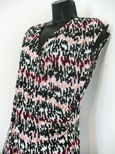 Ann Taylor Abstract with Purple Black amp; White Wrap Around Front Top Size M $14.99