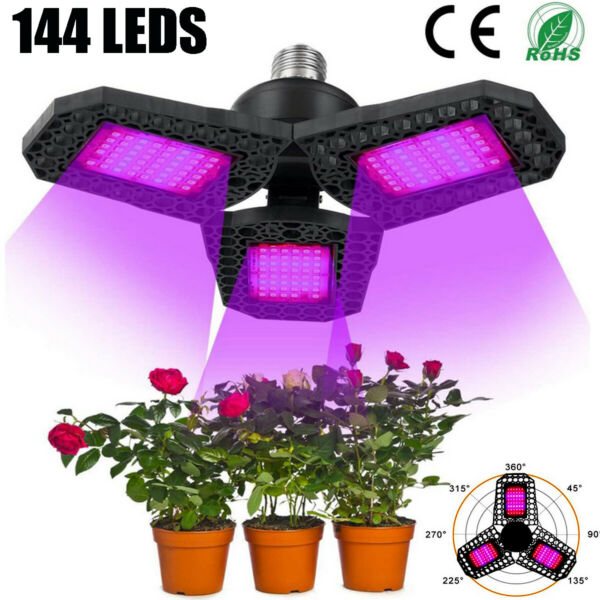 Full Spectrum 144LED Grow Light Plant Growing Lamp for Indoor Plants Hydroponics $12.59