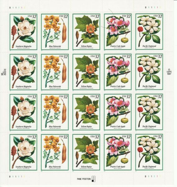 FLOWERING TREES STAMP SHEET USA #3193 3197 32 CENT FLOWERS
