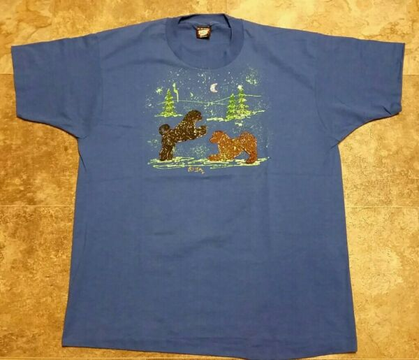 80#x27;s 90#x27;s Vintage Hand Painted Unique Dogs Playing Outside Shirt XL 23quot; x 29quot; $20.00
