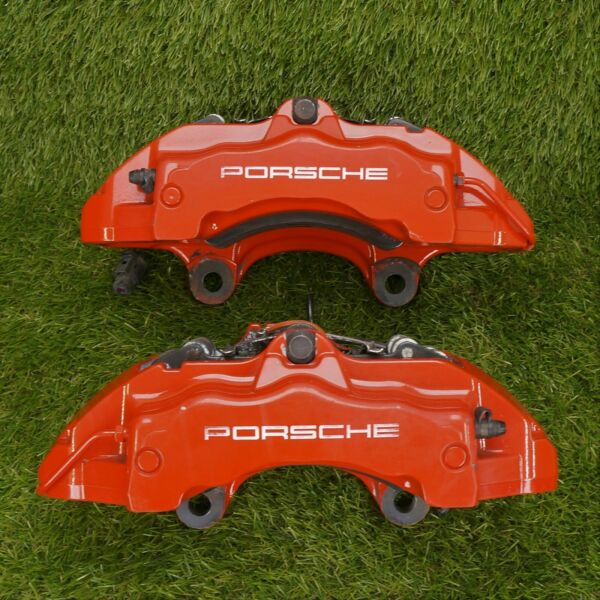 04 10 Porsche Cayenne Brembo Front 18Z 350mm Brake Calipers Pair OEM Red 18ZL
