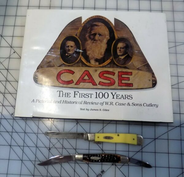 """Lot of 2 Vintage Case Knives 1 Stockman and 1 Trapper w book """"Case: The First"""