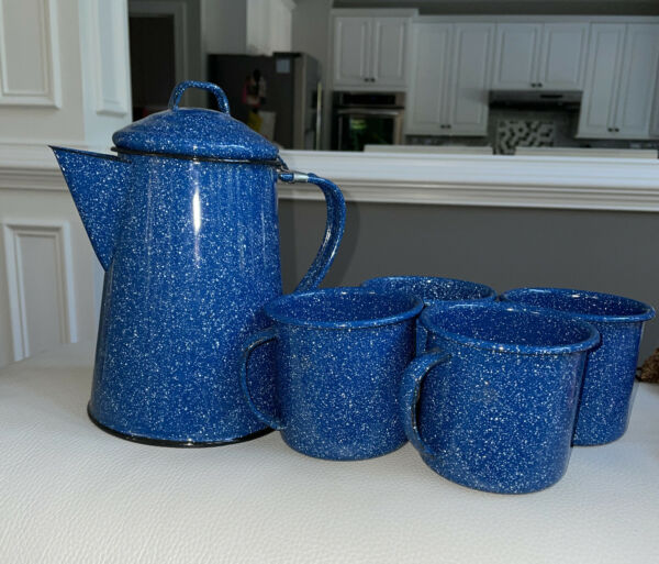 Camping Coffee Pot Stovetop Blue Speckled Enamel w Handle And 4 Cups