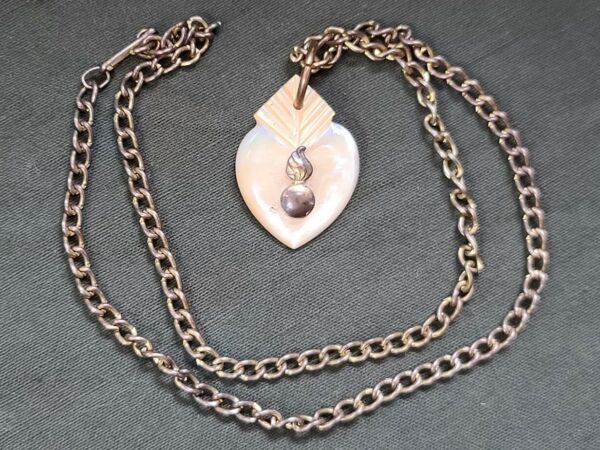 WWII US Army Ordinance Heart Necklace Sweetheart Bomb Mother of Pearl 1940s Vtg