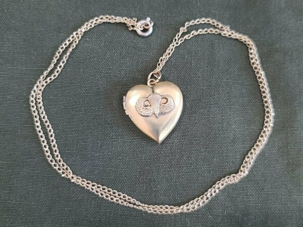 WWII Paratrooper Jump Wings Heart Locket Necklace Airborne Sweetheart 1940s Vtg