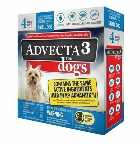 Advecta 3 for Small Dogs 4 Month Supply Same Active Ingredients K9 Advantix II $23.89