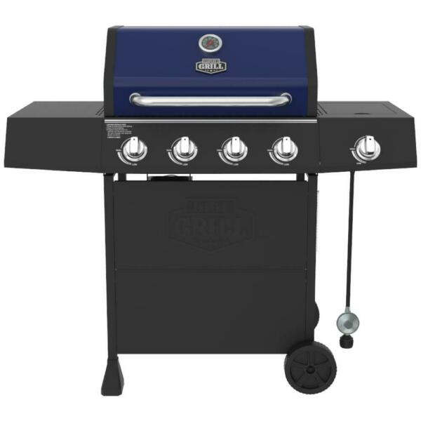 Expert BBQ Grill 4 Burner with Side Burner Propane Gas Barbeque Grill Blue New