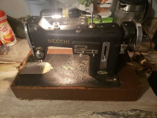 Necchi Model BUVintage Sewing Machine Accessories Orig Manual Works Great