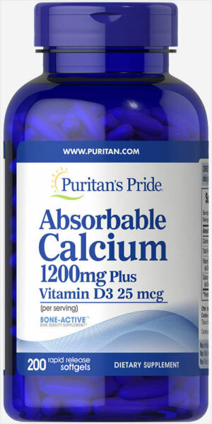 Puritan#x27;s Pride Absorbable Calcium 1200 mg with Vitamin D3 1000 IU 200 Softgels $11.89