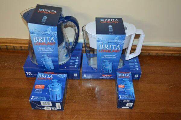 BRITA Pitcher LONGLAST Lot of 2 and LONGLAST Filter Lot Stock Up Deal