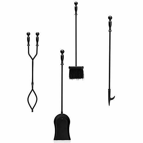 DOEWORKS 4 Pieces Fireplace Tools Sets with Handles Wrought Iron Fire Tool Se...
