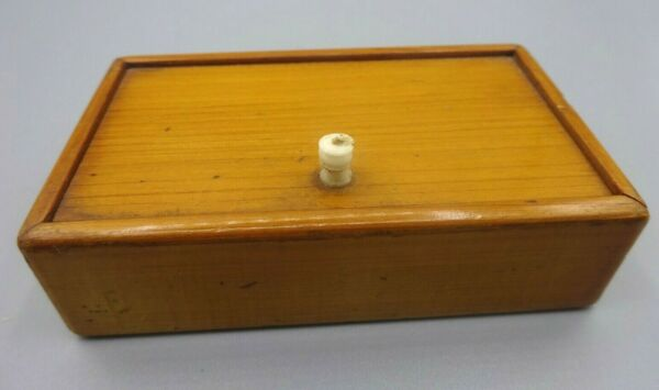Antique Treen Hand Made Light Wood English Postage Stamp Box Hinged Lid