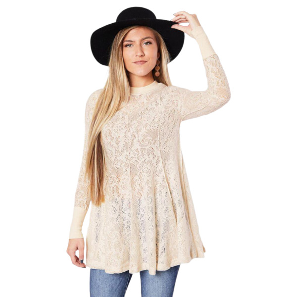 Free People Chamoix Ivory Coffee In The Morning Tunic Top Large OB1020044 $128
