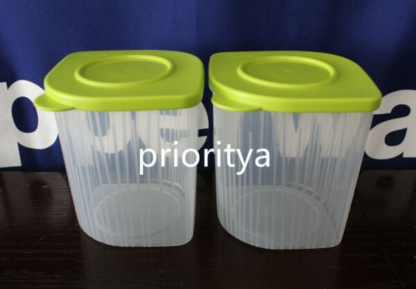 Tupperware Fresh N Cool Medium Container Set of 2 Green Seal New in Package $15.90
