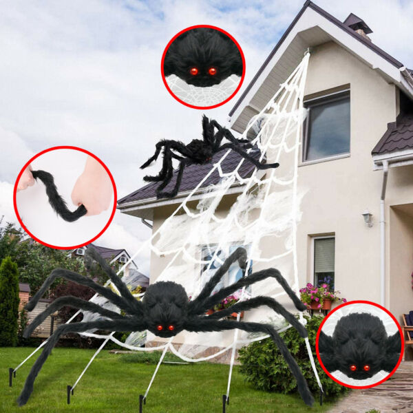 Huge Giant Large Outdoor Yard 5 Rope Spider Web Halloween Scary Spooky Decor USA