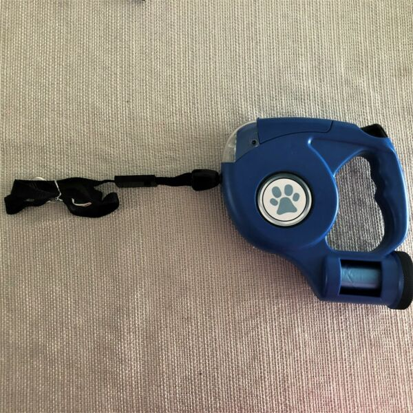 Retractable dog leash: extends 15 feet thumb lock LED lights dog up to 50 lbs $8.99
