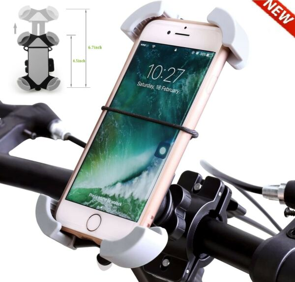 Silicone Motorcycle Bike Handlebar Bicycle For MTB GPS Cell Phone Holder Mount $8.49