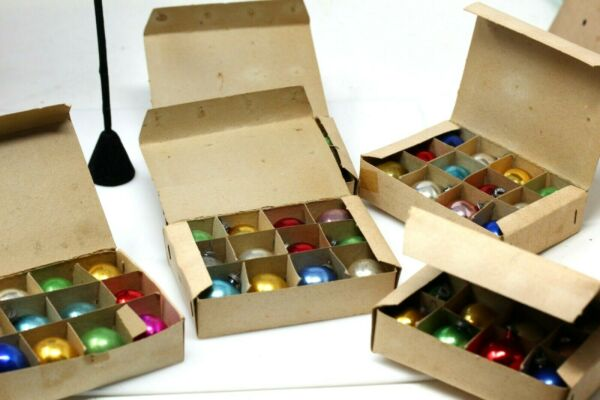 Vintage Box of 12 Mini Mercury Glass Christmas Bulbs in Assorted Colors