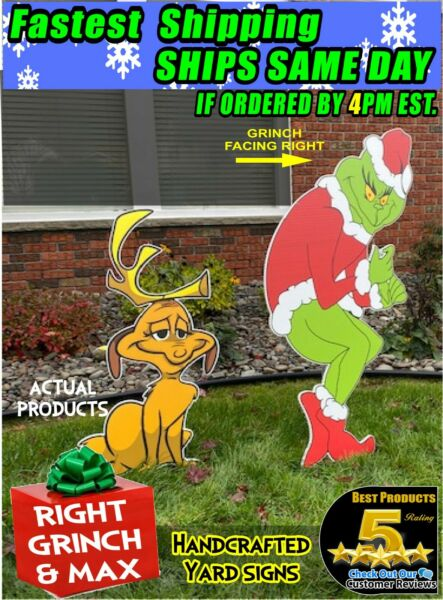 GRINCH Stealing CHRISTMAS Lights RIGHT Facing GRINCH MAX The Dog FAST SHIPPING $119.99