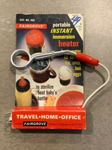 Vintage Fairgrove Portable Instant Immersion Heater 998 in original package $19.99