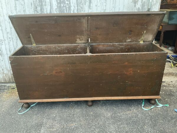 unusual large wood box primitive chest dovetailed turned feet 77x19x32 wood