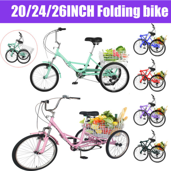 Adult Folding Tricycle 7Speed 20 24 26quot; 3Wheel Cruiser Bike with Basket Shopping $388.90