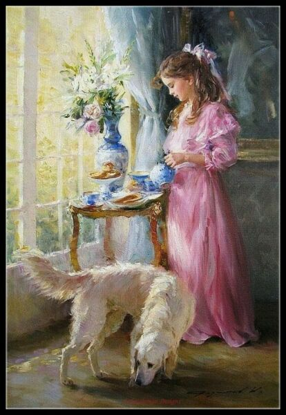 Girl with Dog DIY Chart Counted Cross Stitch Patterns Needlework 14 ct Aida $9.99