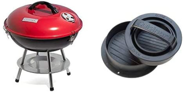 Cuisinart Grill Bundle Portable Charcoal Grill 14quot; Red amp; 3 in 1 Stuffed Bur