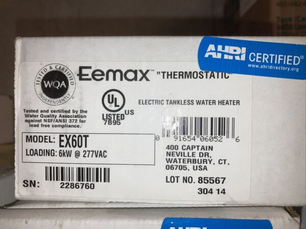 EEMax EX60T Electric Tankless Water Heater $79.00