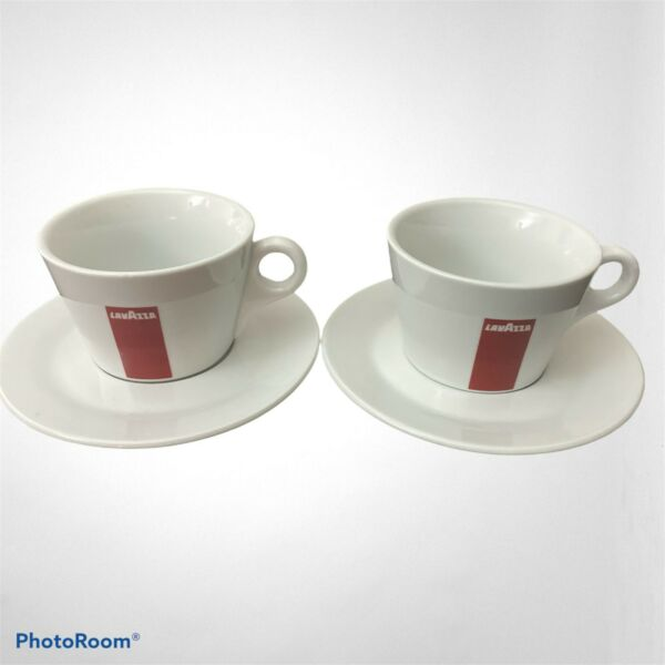 LavAzza Coffee Espresso Cups and Saucers White amp; Red IPA Italy Set of 2