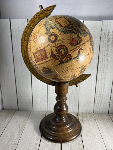Vintage Wood Old World Globe Desktop Zodiac Astrology Zona Signs Made in Italy
