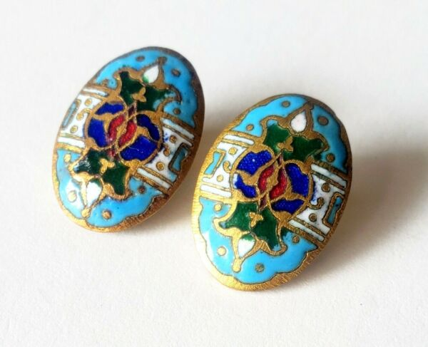 Pair of Oval Enamel Antique Buttons…Turquoise Blue Green Red