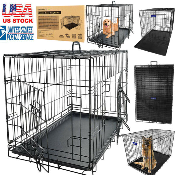 Large Animal Pets Dog Crate Double Door Foldable Metal Dog Crates Kennel amp; Tray $53.15