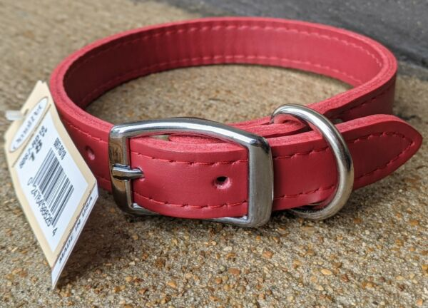 OMNIPET LEATHER DOG COLLAR #6067 RD18 SIZE 18quot; RED NEW Made in USA $13.99