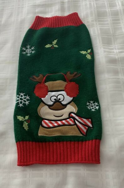 Dog Christmas Sweater Moose Design Green Red Warm Winter Wear LARGE For Charity $10.99
