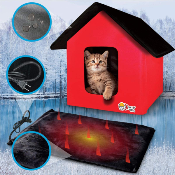 Heated Cat House Collapsible Outdoor Indoor for Dog amp; Pet House Shelter $62.50