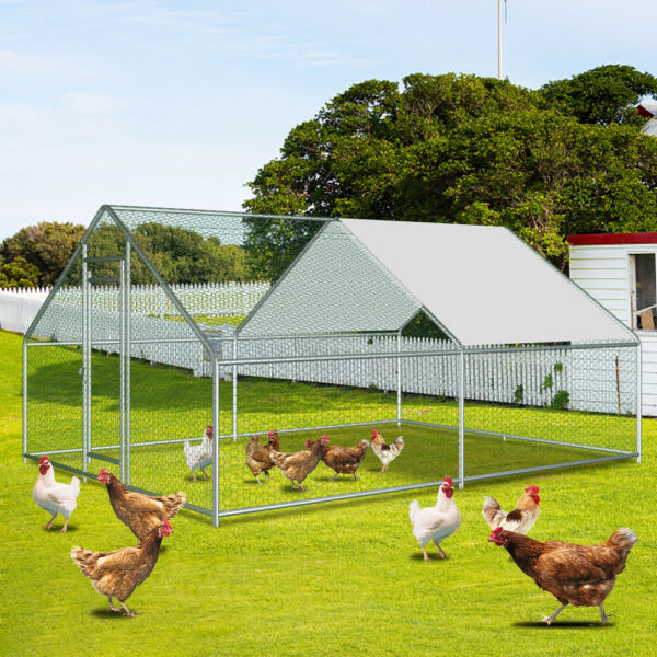 Trapezoid Roof 4*3M 13*10ft Hen House Cage For Backyard Poultry Reptiles Raise $318.95