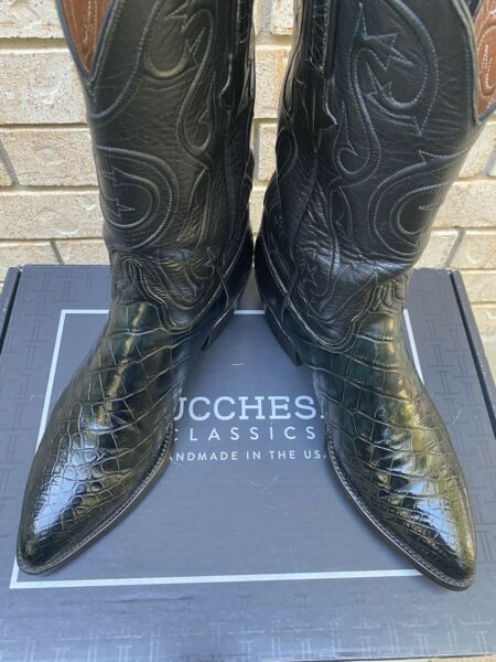 """LUCCHESE CLASSICS """"FORDE"""" AMERICAN ALLIGATOR BELLY COWBOY BOOTS 10.5D $4995"""