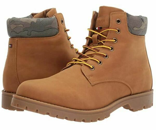 Tommy Hilfiger Men#x27;s Jorus US 13 M Light Brown Synthetic Leather Hiking Boots